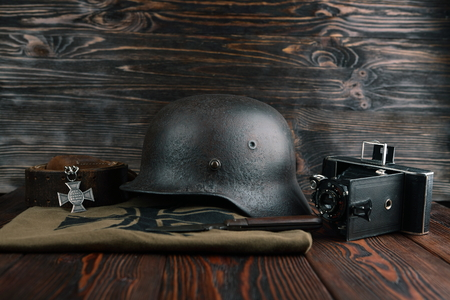 ss: Rusty german army helmet from second world war.