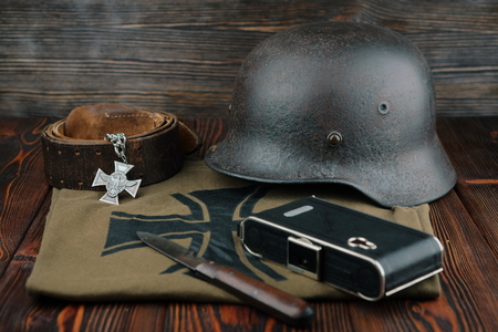 wehrmacht: Rusty german army helmet from second world war.