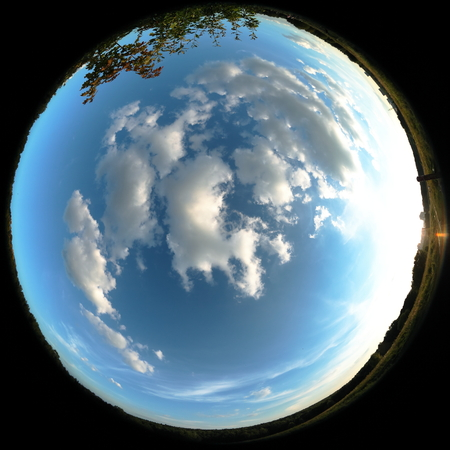 Around on Sky. Taken with a fisheye lens to give the special plate effect. The fresh air feel and clear blue sky are shown on the picture. Stock Photo