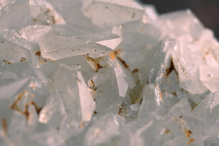 white calcite mineral on the wooden background