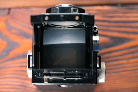 The old film camera. Twin lens reflex camera.
