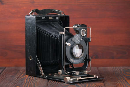 scaling: MOSCOW, RUSSIA, APRIL 14, 2017. The old Soviet large format scaling camera Fotokor-1, released1933.