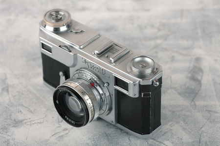 MOSCOW, RUSSIA, APRIL 18, 2017. The old Soviet rangefinder camera Contax-2, Kiev-2, released in 1955. Redakční