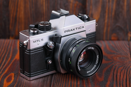 carl: MOSCOW, RUSSIA, APRIL 19, 2017. The old German 35 mm SLR camera Praktica MTL 5, released1984.