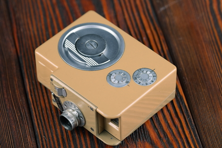 kama: MOSCOW, RUSSIA, APRIL 20, 2017. The old Soviet 8 mm movie camera Kama, released 1959.