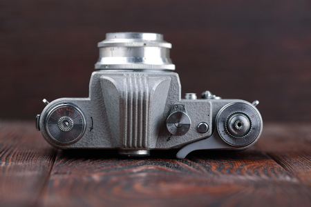 MOSCOW, RUSSIA, APRIL 20, 2017. The old Soviet 35 mm SLR camera Kristall (Crystall), released1962. Editorial