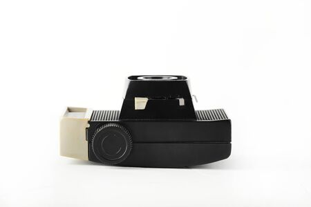The old vintage medium format film camera on white background. Rare vintage camera.