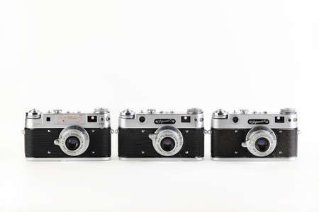 The very rare old Soviet rangefinder film cameras Zorki-5, released 1958 and 1959 on white background.