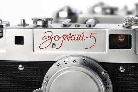 The very rare old Soviet rangefinder film cameras Zorki-5, released 1958 on white background.