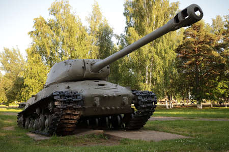 Snegiri village, Istra district, Moscow region, June 26, 2020. Soviet Heavy Tank IS-2M participated in the 2nd world war, Released in 1944 in the USSR.