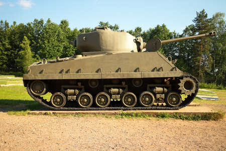 Snegiri village, Istra district, Moscow region, June 26, 2020. Medium Tank M4-F4 Sherman participated in the 2nd world war. US production, 1942. Editorial