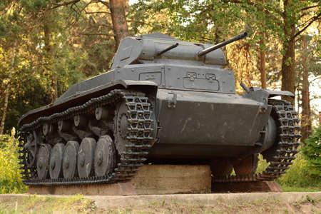 Snegiri village, Istra district, Moscow region, June 26, 2020. The German battle tank of the 11th Panzer Division, operating in World War II, Panzerkampfwagen II Ausf B under the trees.