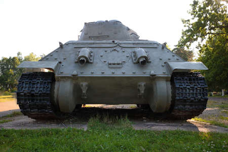 Snegiri village, Istra district, Moscow region, June 26, 2020. Medium tank T 34-85 under the trees participated in the 2nd world war.