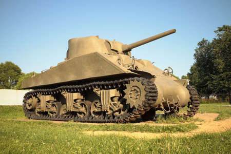 Snegiri village, Istra district, Moscow region, June 26, 2020. Medium Tank M4-A2 Sherman participated in the 2nd world war. US production, 1943. Editorial