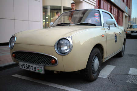 Moscow, July 13, 2020. Classic Nissan Figaro vintage retro car.