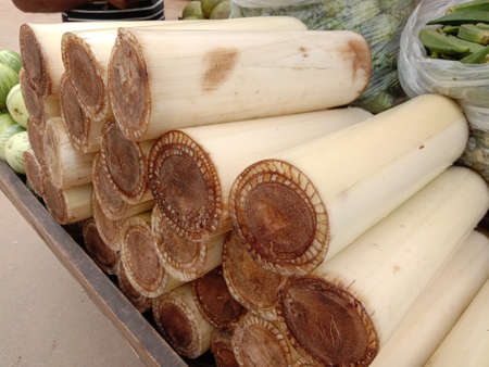 Natural vegetable pieces in the store are from banana trees