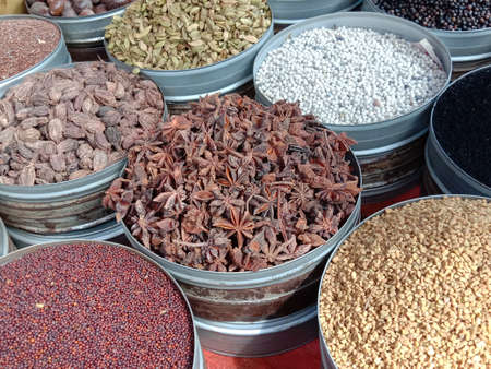 Collection of various healthy spices in the market