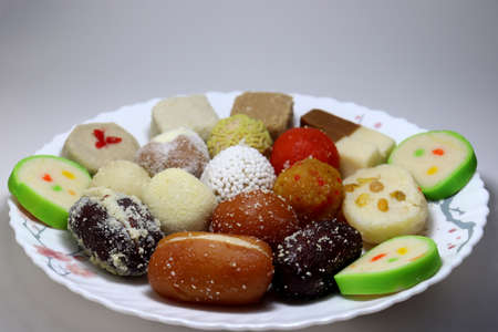 tasty multiple sweet stock on plate for sell Stock Photo