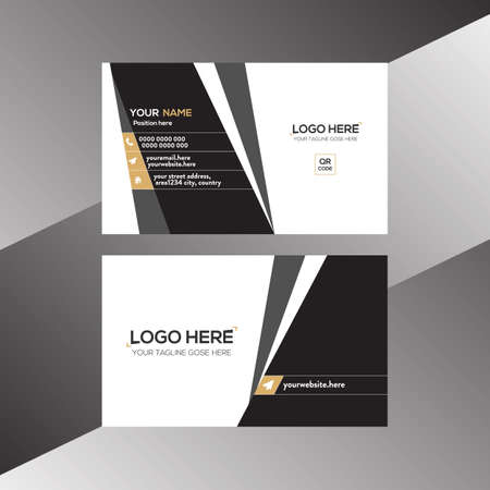 black and brown colored vector business card design for any company use