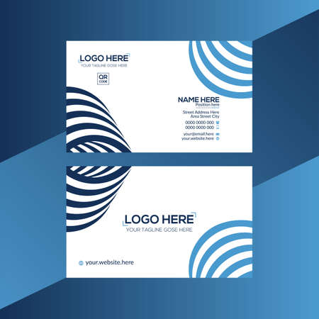 blue and cyan colored vector business card design for corporate use