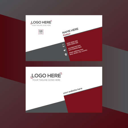 red and gray colored vector business card design for corporate use