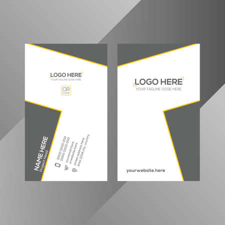 yellow and gray colored corporate vector business card 矢量图像