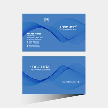 blue colored vector business card design for corporate use 免版税图像