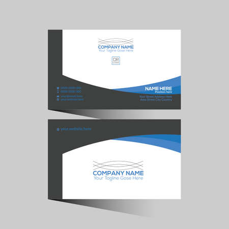blue and black colored vector business card design for any company use 矢量图像