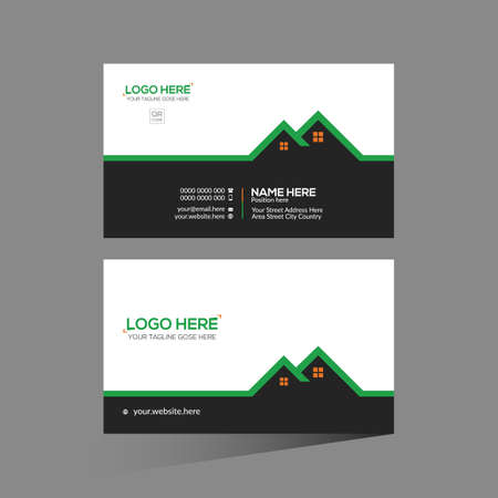 black and green and orange colored vector business card design for corporate use