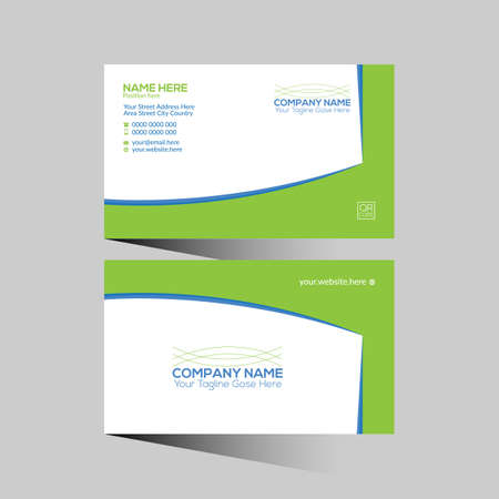 blue and green colored vector business card design for any company use 矢量图像