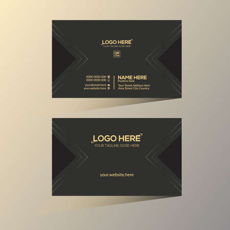golden and black colored vector business card design for any company use