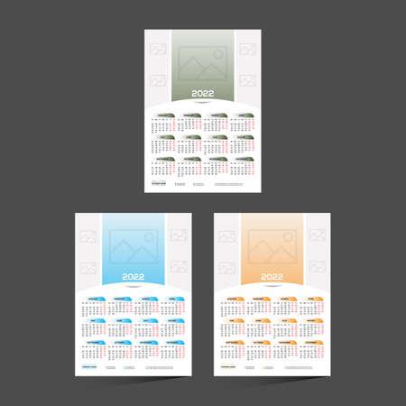 12 month 3 color vector 2022 calendar design