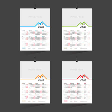 12 month 4 color vector 2022 calendar design for any kind of use