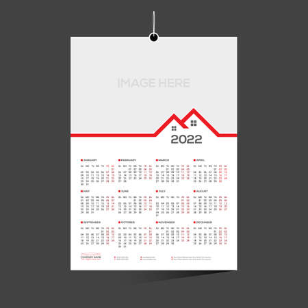 red colored 12 month 2022 calendar design for any kind of use 矢量图像
