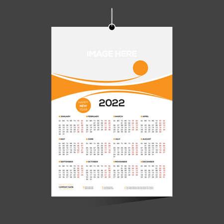 orange colored 12 month 2022 calendar design for any kind of use 矢量图像