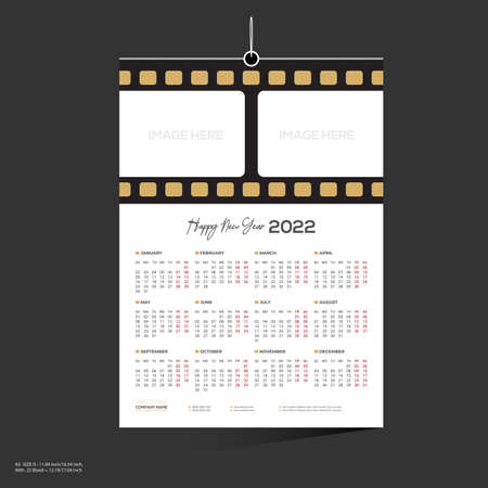 brown colored film company 12 month 2022 wall calendar design for director producer actor 矢量图像