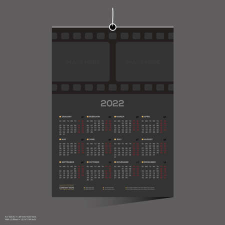 black colored film company 12 month 2022 wall calendar design for director producer actor