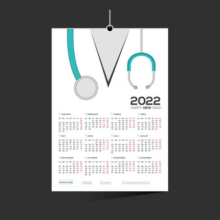 cyan colored 12 month 2022 wall vector doctor calendar design for doctor medical
