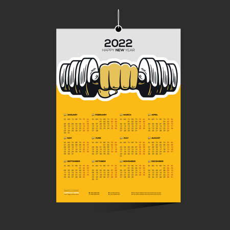 yellow colored gym company 12 month 2022 vector wall calendar design for wrestler boxer 矢量图像