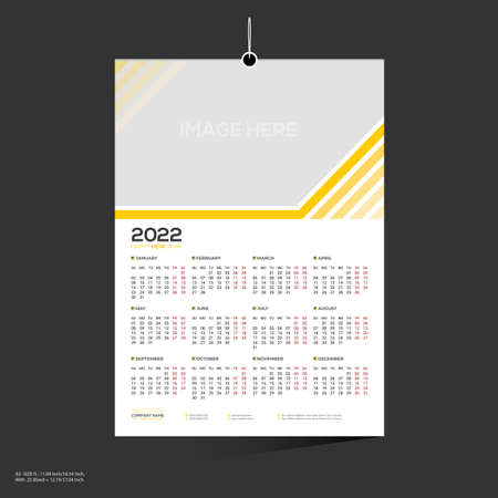 12 month yellow colored vector 2022 wall calendar design for any kind of use