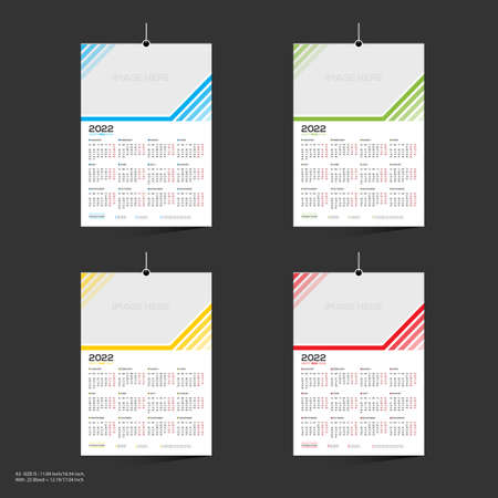 12 month 4 color vector 2022 wall calendar design for any kind of use 矢量图像