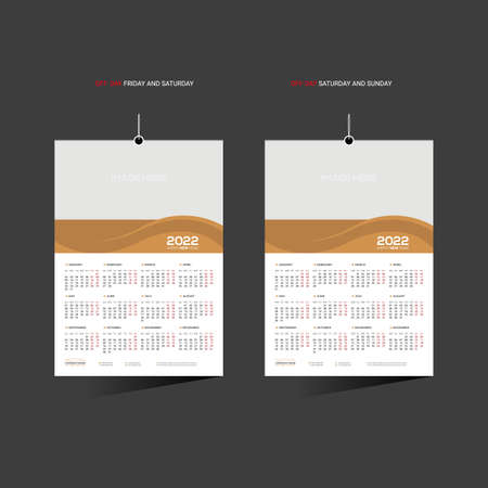 Brown colored 12 month 2022 vector wall calendar design for any kind of use 矢量图像