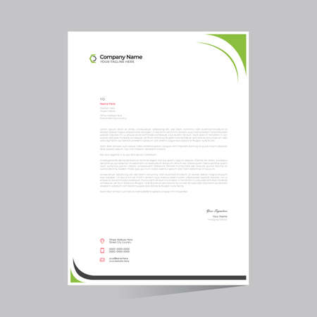 green colored simple letterhead design for any kind of use 矢量图像