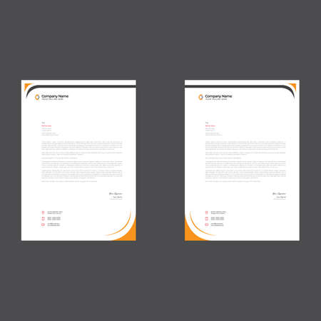 orange colored simple letterhead design for any kind of use