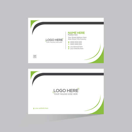 green colored double sided vector business card design for any kind of use 矢量图像