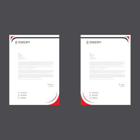 red colored simple letterhead design for any kind of use 矢量图像