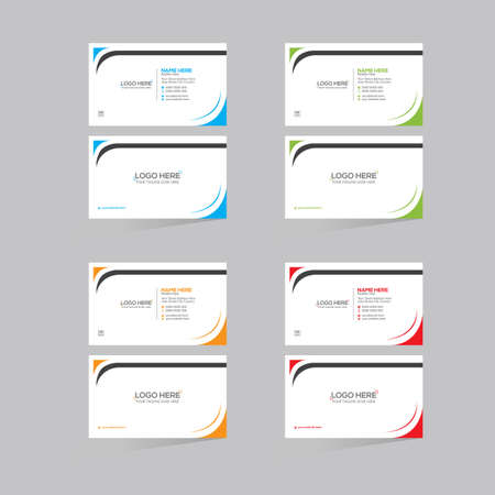 4 colored double sided vector business card design for any kind of use