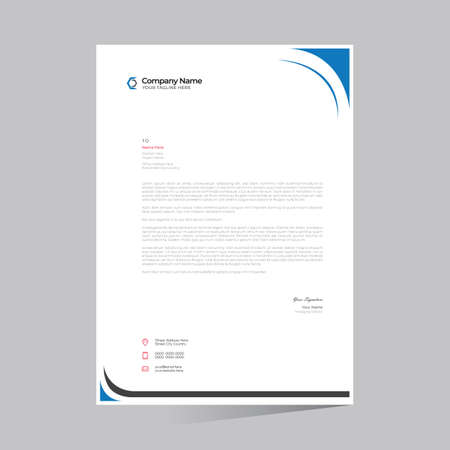cyan colored simple letterhead design for any kind of use
