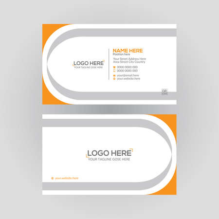 orange colored double sided vector business card design for any kind of use