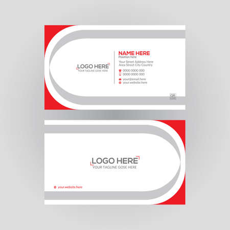 red colored double sided vector business card design for any kind of use 矢量图像